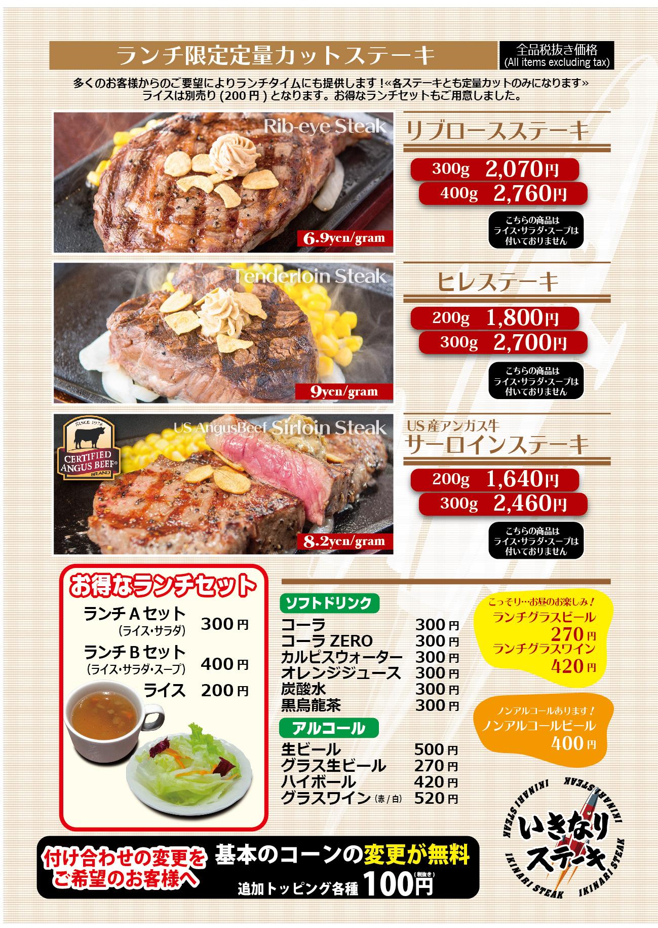いきなりステーキのランチ限定定量カットメニュー
